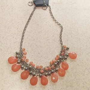 Coral silverbell necklace set